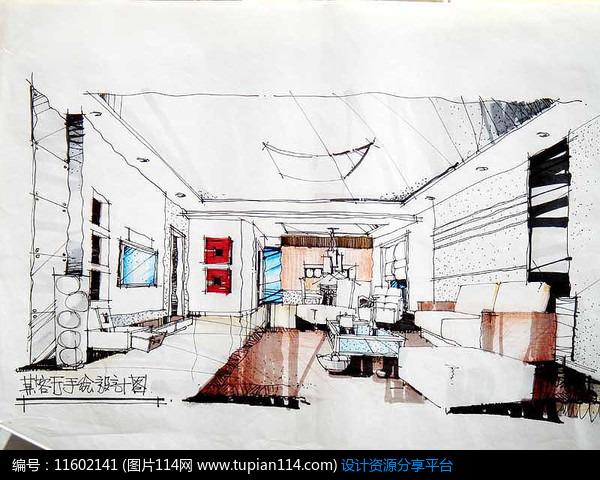 [原创] 客厅手绘设计透视图