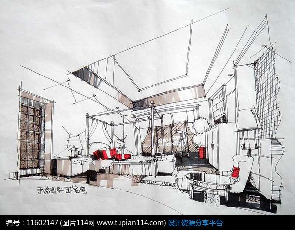 卧室图客厅室内设计概念表现室内设计室内装潢手绘素材效果图透视图