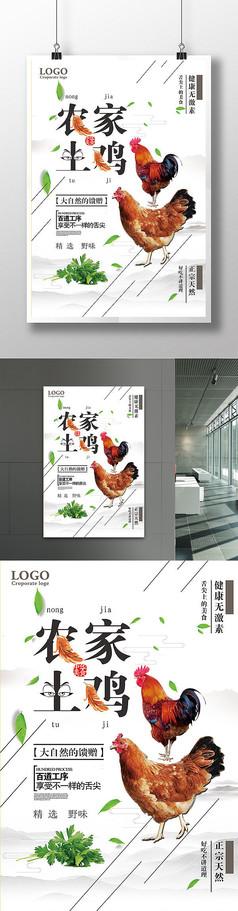 中国简约风农家土鸡海报