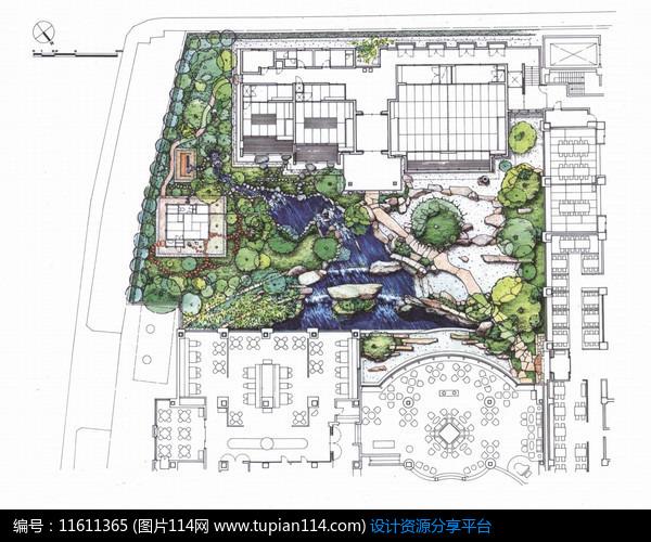 相关素材 酒店庭院设计平面自然式园林景观日式庭院禅庭日式景观日本