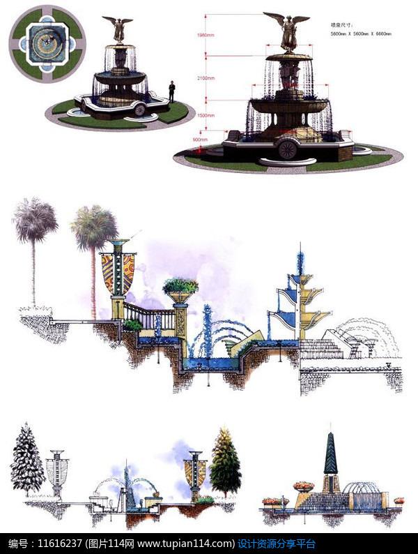 3d素材 方案意向 手绘素材 欧式喷泉叠水设计图     素材编号:1161623
