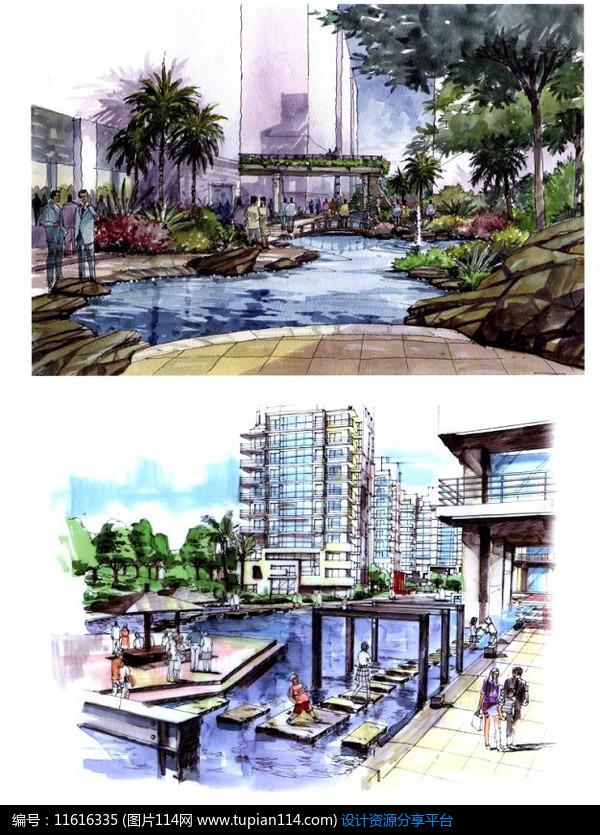 [原创] 汀步水景设计手绘图