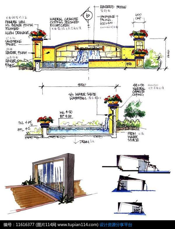景墙设计水景手绘图