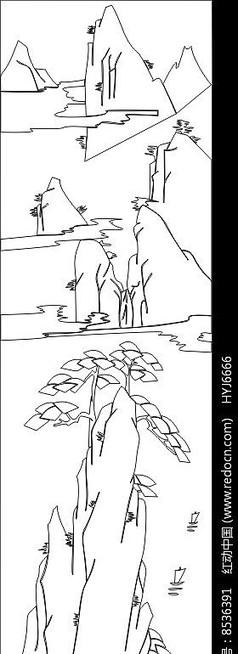 线条山水画