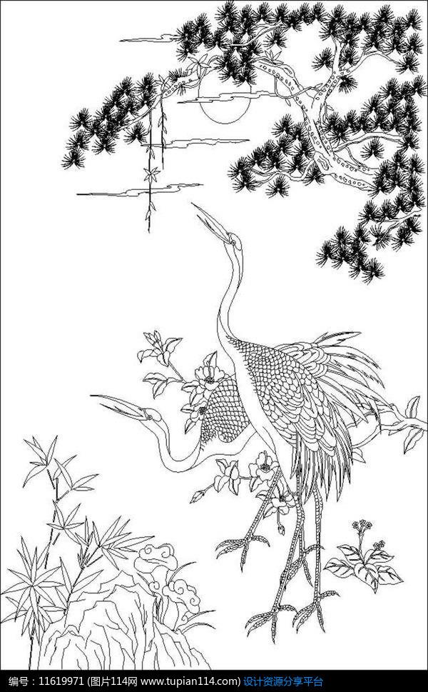 [原创] 松鹤雕刻图案