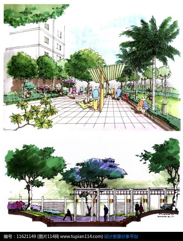 3d素材 方案意向 手绘素材 广场中的廊架效果图     素材编号