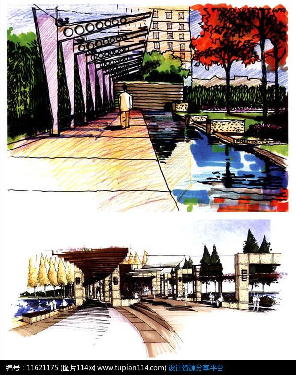 3d素材 方案意向 手绘素材 单柱廊架效果图