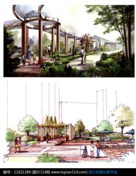3d素材 方案意向 手绘素材 观赏风景廊架效果图