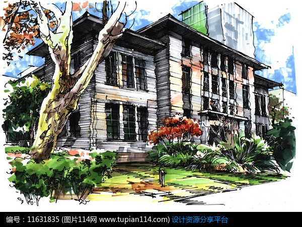 别墅建筑手绘效果图