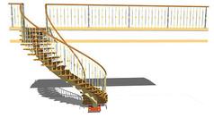 室内铁艺旋转楼梯模型