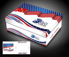 蓝红色童鞋盒包装设计模板
