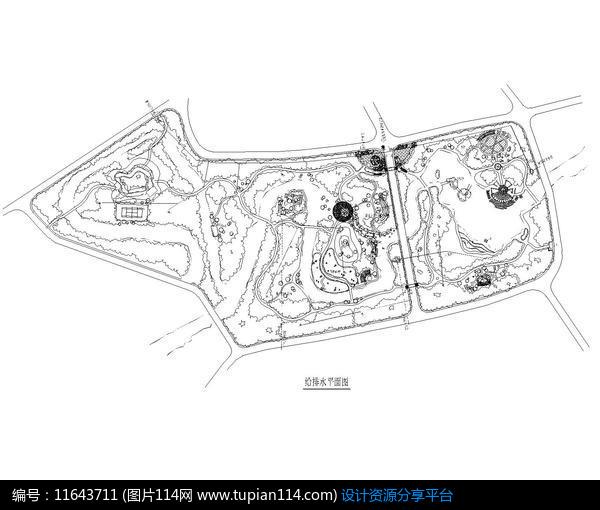 风景区规划设计给排水平面图动字体的设计图片