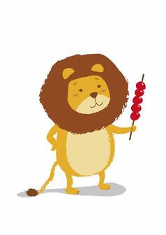 拿糖葫芦的卡通小狮子矢量插画