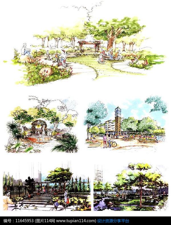 3d素材 方案意向 手绘素材 草坪休闲区