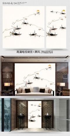 水墨江南工画笔电视背景墙