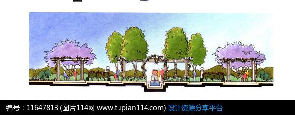 3d素材 方案意向 手绘素材 廊架设计断面图