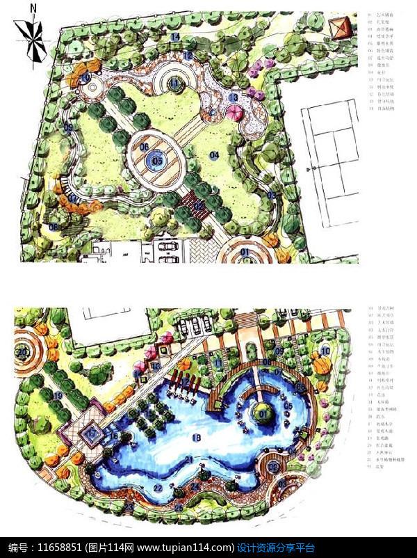 相关素材 滨水设计手绘平面园路手绘图手绘素材公园景观手绘图