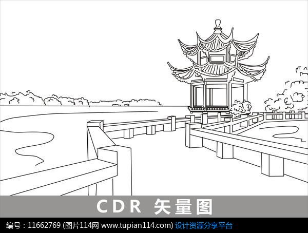 [原创] 杭州西湖线描插画图片