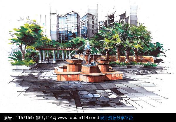[原创] 喷泉景观手绘效果图