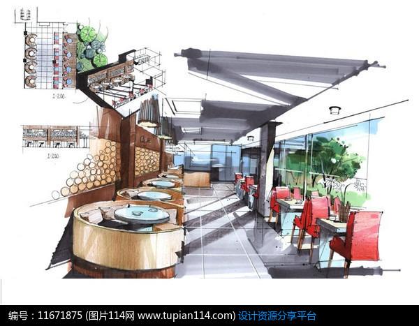 [原创] 现代餐厅方案设计手绘效果图