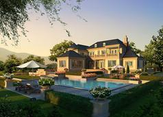 别墅庭园景观效果图