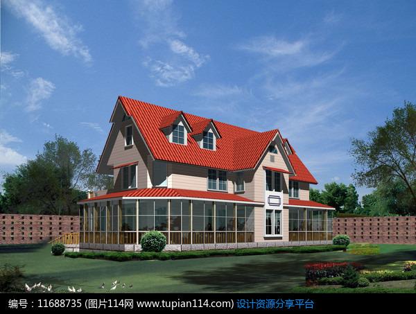 红瓦屋顶别墅外观设计效果图