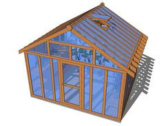 木质结构玻璃温室SU