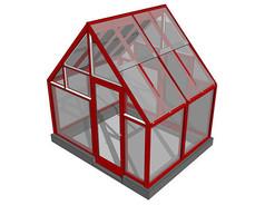 红色不锈钢结构玻璃温室SU