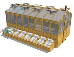 黄色实木构架玻璃温室SU
