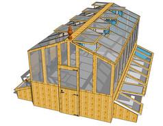 实木框架玻璃温室SU