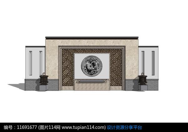[原创] 中式圆形石雕景墙