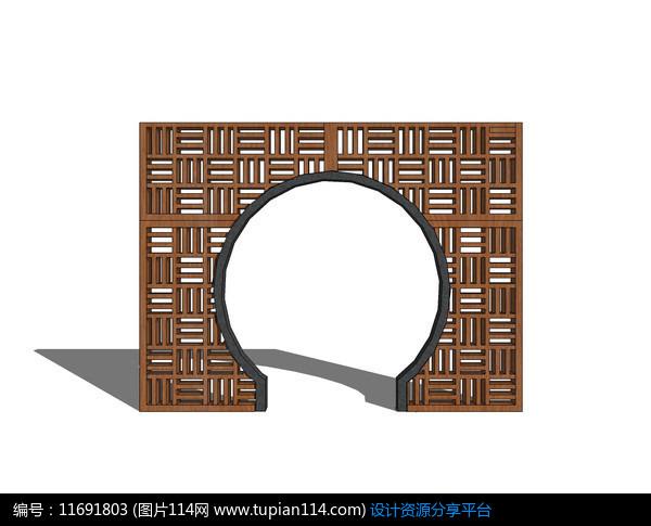 [原创] 中式镂空花纹圆形门洞景墙