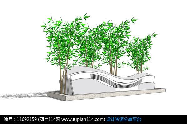 [原创] 现代竹子曲形景墙