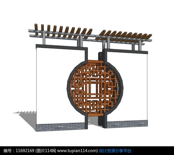 [原创] 中式半壁圆形镂空花纹景墙