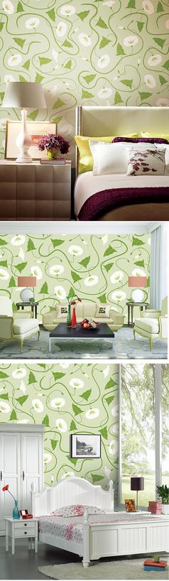 绿色几何线条花纹墙纸壁纸