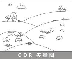 牧牛羊线描插画