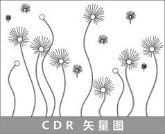蒲公英简约线描插画