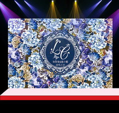 蓝色花卉婚礼花墙迎宾背景