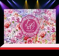 粉紫花卉婚礼花墙迎宾背景设计