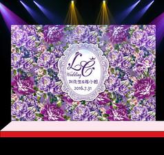 紫色花卉婚礼花墙迎宾背景设计