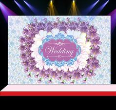 紫色花卉婚礼花墙迎宾背景