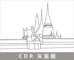 泰国大皇宫线描装饰图