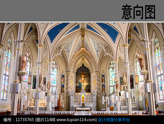 3d素材 方案意向 建筑套图 欧式大教堂室内