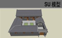 中式古建四合院模型