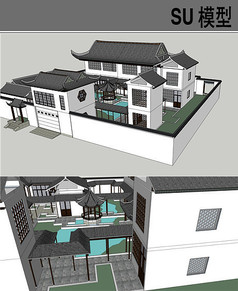 中式古建四合院SU模型