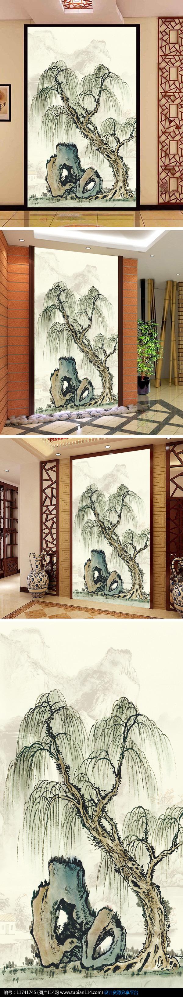 玄关背景墙 中国 画山水 画水墨画玄关装饰 画 纯 手绘望岳风景油 画