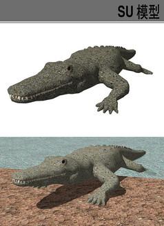 3D动物鳄鱼SU模型