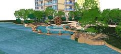 住宅区现代风格大型水景模型
