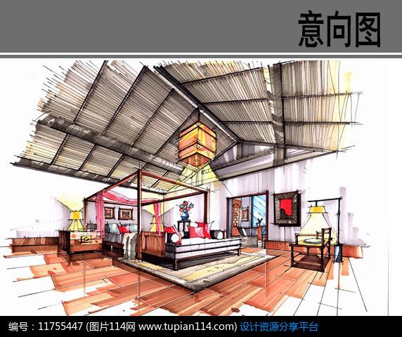 新中式卧室手绘效果图,3d模型免费下载,3dmax模型,材质贴图,cad图库大全