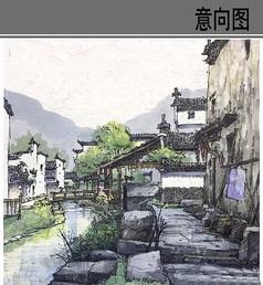 古镇风景彩色手绘